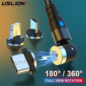USLION-Cable magnético de rotación de 540 grados para iPhone 11, Xiaomi, Samsung, Cable Micro USB tipo C para teléfono, Cable USB de 180 grados