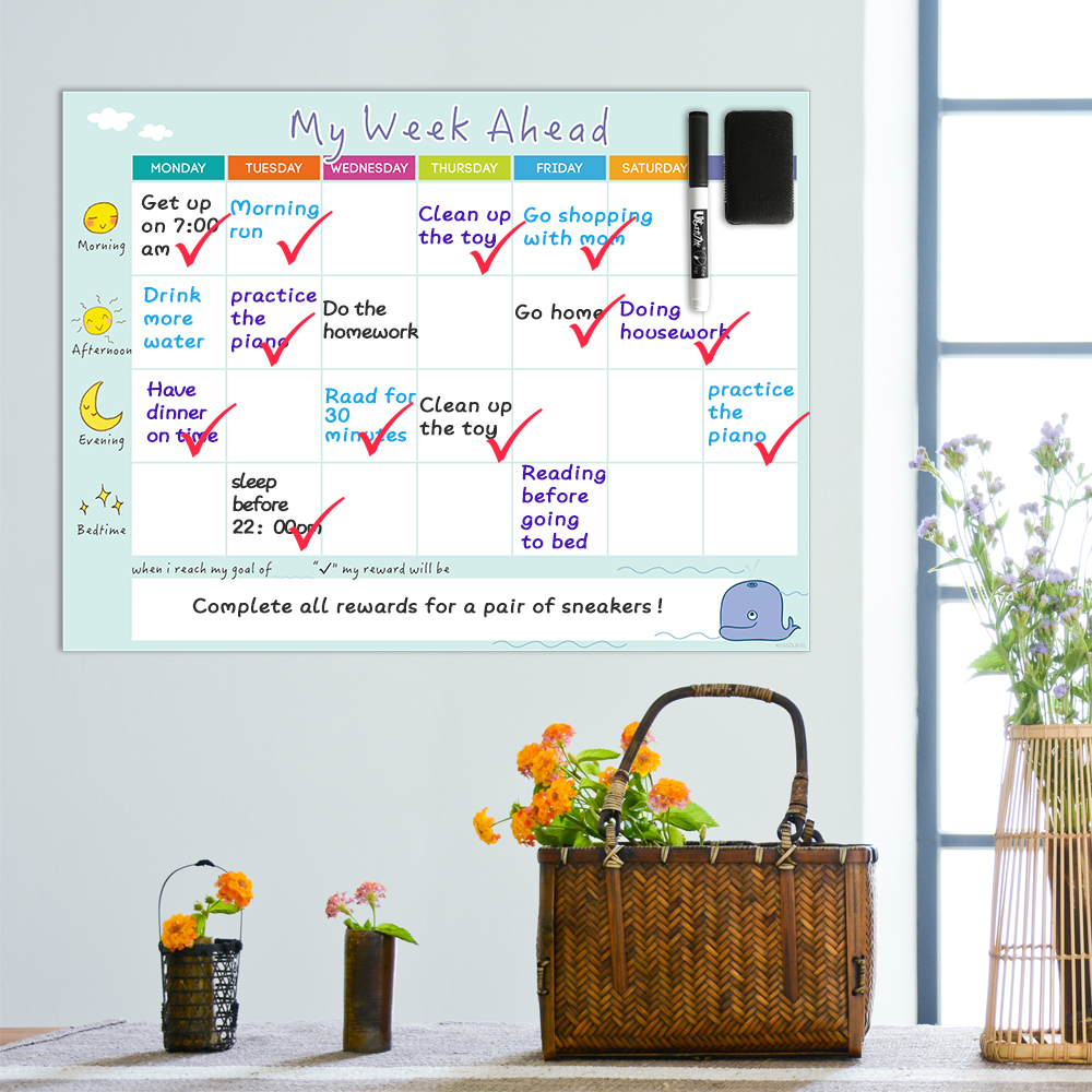 Magnetic Weekly Planner Whiteboard Calendar Fridge Magnet Wall Art Sticker Daily Schedule Family Organize To Do List Toy Gifts