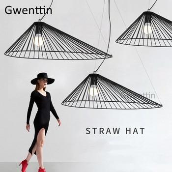Modern Straw Hat Pendant Lights Loft Industrial Nordic Hanging Lamp Dining Room Light Fixtures Living Room Home Decor Luminaire