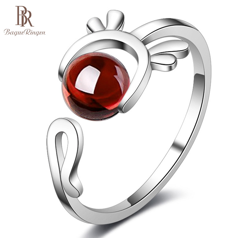 Bague Ringen Silver 925 Jewelry Ring Open Adjust Woman Silver Finger Ring With Round Garnet Gemstone Engagement Fashion Jewewlry