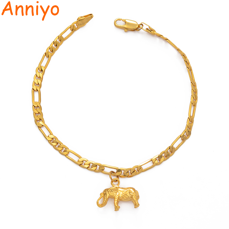 Anniyo Elephant Anklets for Women Men Girls Gold Color Jewelry Foot Chains Religious and Wedding Accessories #210406