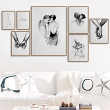 Abstract Line Woman Man Kiss Sketch Hand Love Art Canvas Painting Nordic Posters And Prints Wall Picturs For Living Room Decor
