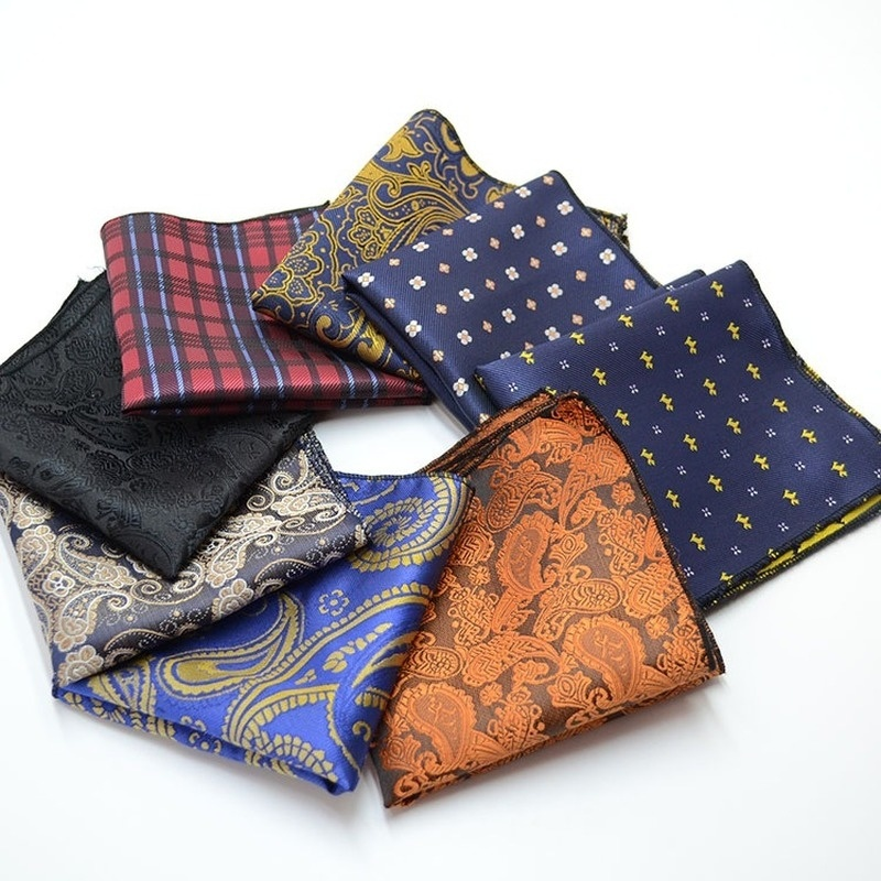 Fashion Men's Suit Pocket Towel Square Towel Polyester Silk Print Dress Chest Towel Scarf Pocket Square Accessories  For Men