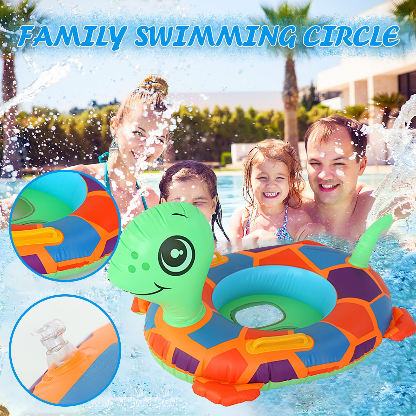 Turtle PVC Inflatable Swimming Ring Swimming Pool Floats Swimming Baby Seat Thickening Floating Float Seat Boat Pool Board