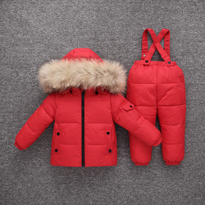 Image 4 -  30 Degrees Winter Warm Baby Down Ski Set Baby Girls Thickening Down Snowsuits Baby Boys Natural Fur Jacket+Pant