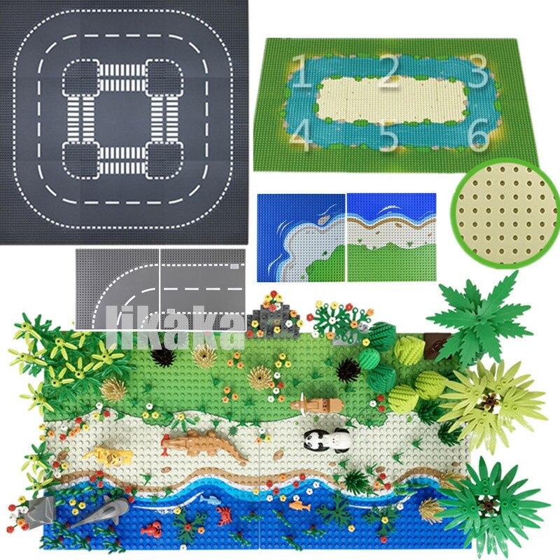 Estrada da cidade placas de base de rua placas de base grama rio mar ilha clássico blocos de construção brinquedos 32*32 pontos tijolos 32x32 placas base