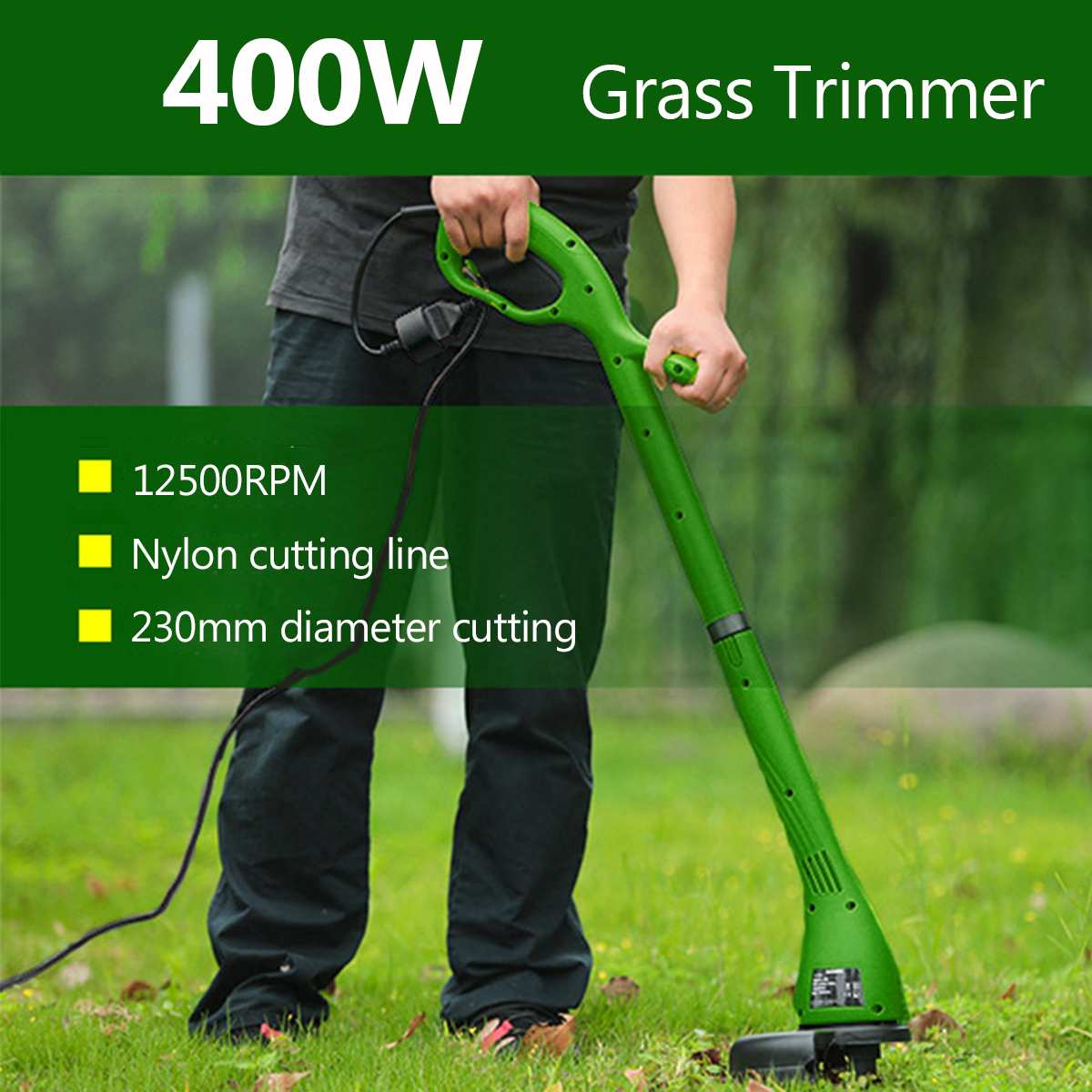230mm 12500RPM Electric Lawn Mower Grass Trimmer Lawnmower Cutter Machine Heavy Duty Pruning Machine Garden Power Tools