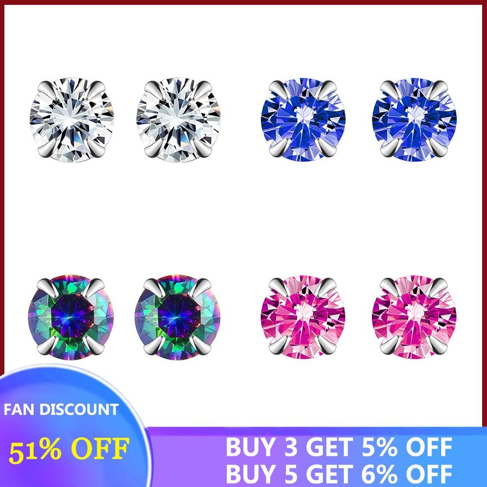 SILVERHOO argent Sterling 925 boucles d'oreilles pour femmes multicolore sans allergie cubique zircone boucle d'oreille nouveauté bijoux fins 2