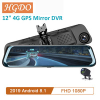4G Android 8.1DVR Dash cam 12 inch touch screen Rearview Mirror DVR mirror Super night 1080P with rear camera Video Recorder