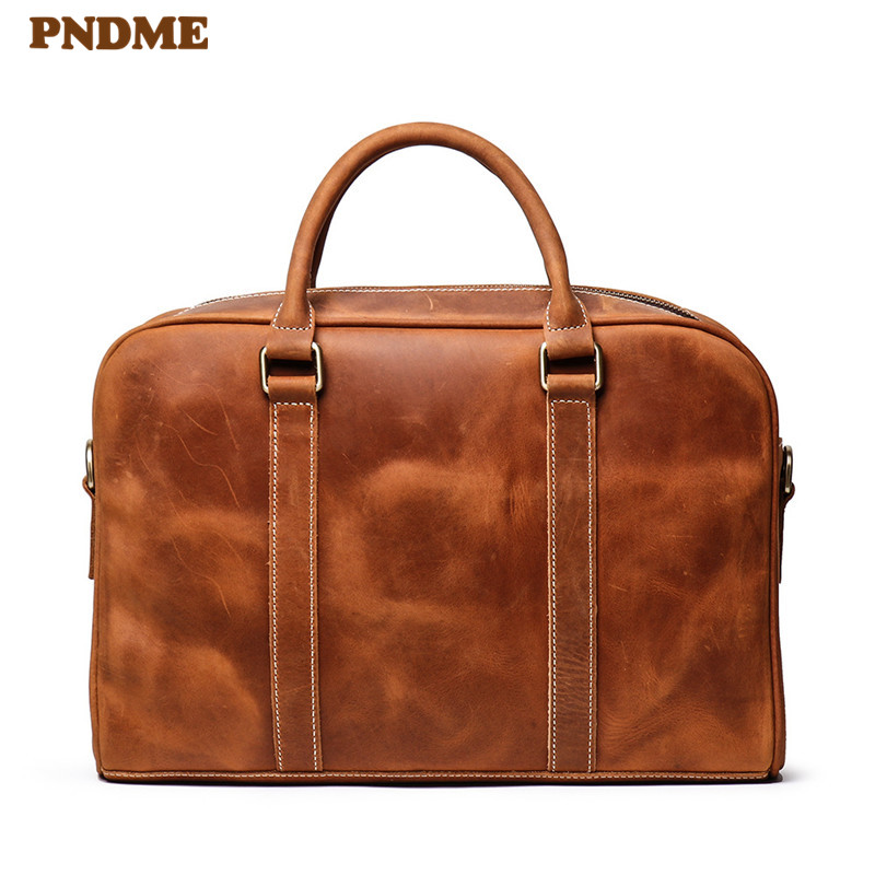 PNDME Vintage Handmade Crazy Horse Cowhide Men Briefcase Large Capacity Handbag Genuine Leather Computer Shoulder Messenger Bag