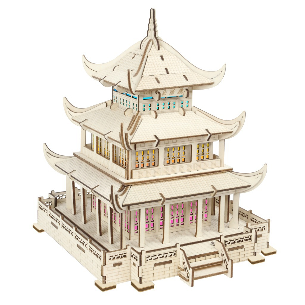 Yueyang Toren Kleurrijke Licht (een Groep) 3D Model 3D Puzzel Model Puzzel Lasersnijden Verwerking - 3