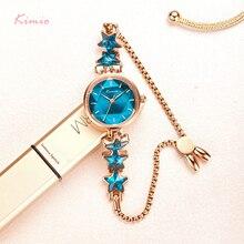 Kimio גבירותיי כחול כוכב צמיד שעון לנשים פשוט קטן חיוג שמלת שעונים נקבה מותג עמיד למים שעוני יד 2019 חדש