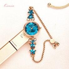 Kimio женские часы с синим браслетом со звездами простые маленьким