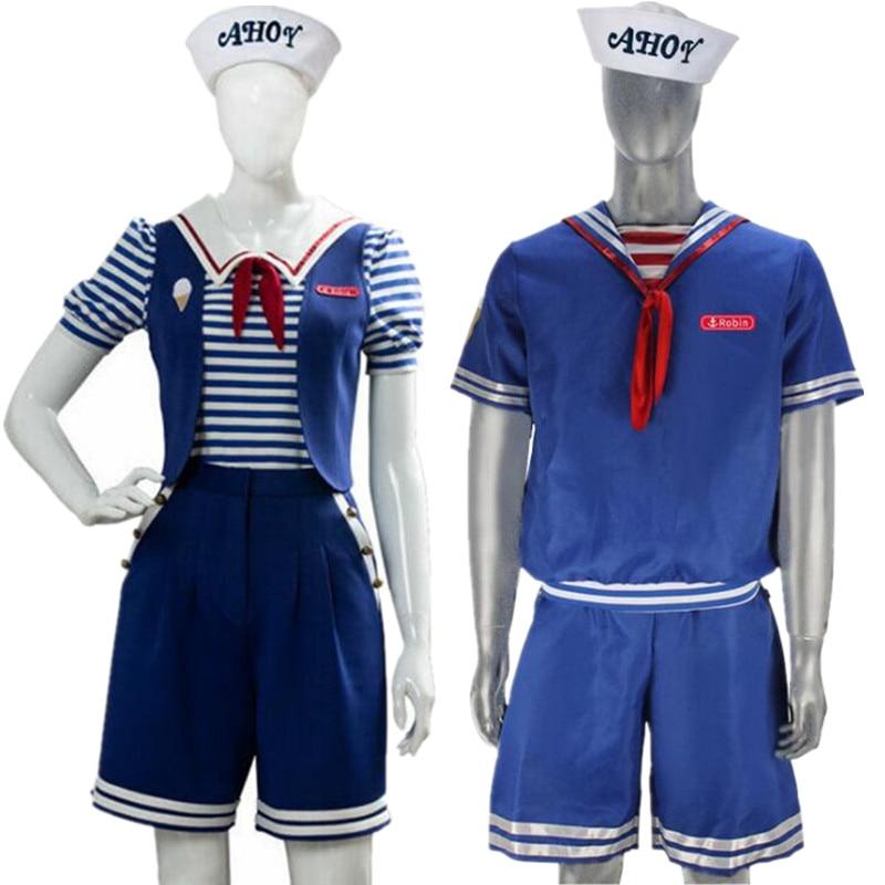 Stranger Things Season 3 Robin Steve Harrington Scoops Ahoy Cosplay Costume Sailor Uniform
