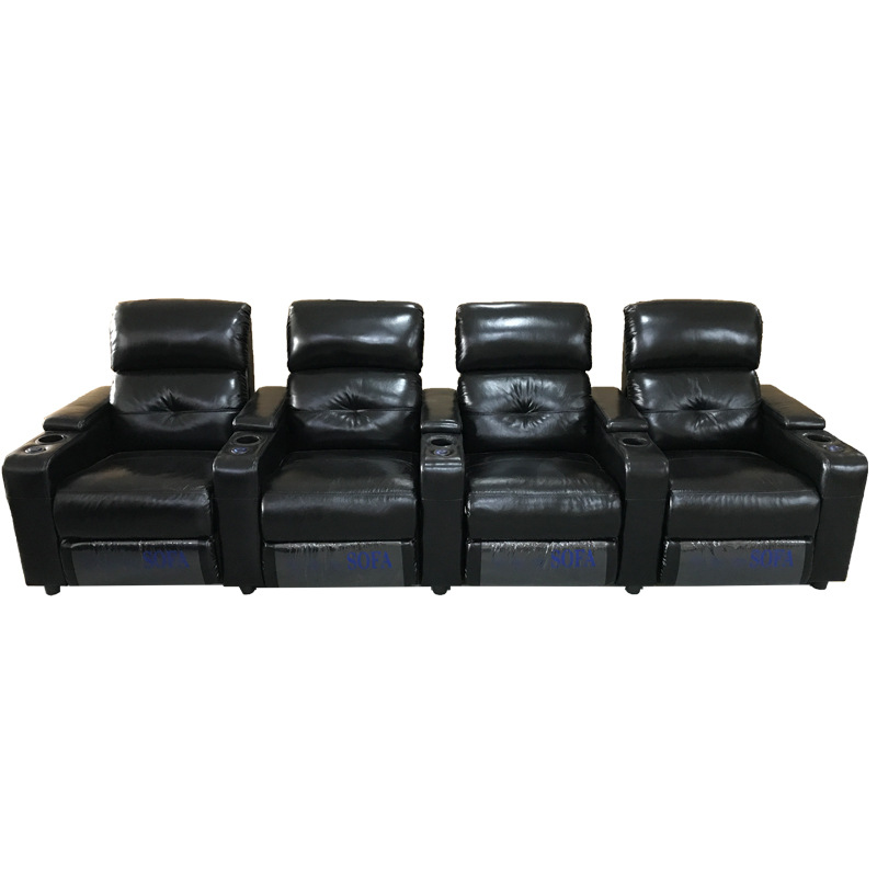 Factory Modern Multifunctional First Class Sofa Head Layer Leather Electric Reclinable Row Cinema Engineering Sofa