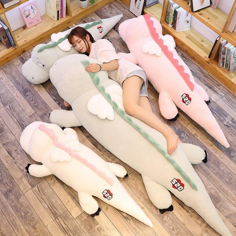 High Quality Big Dinosaur Plush Toy Soft Cartoon Animal Three Colors with Wing Stuffed Doll Baby Friends Birthday Gift
