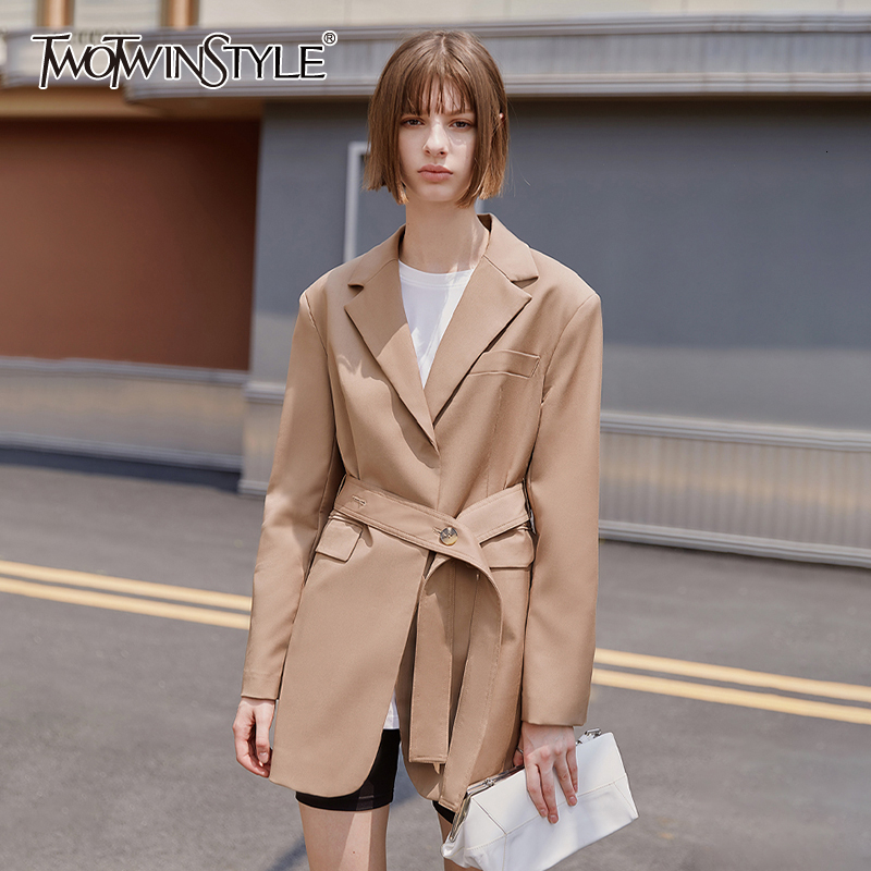 TWOTWINSTYLE England Style Loose Women's Suits Notched Long Sleeve High Waist With Sashes Blazers Female Tunic Clothing Fashion
