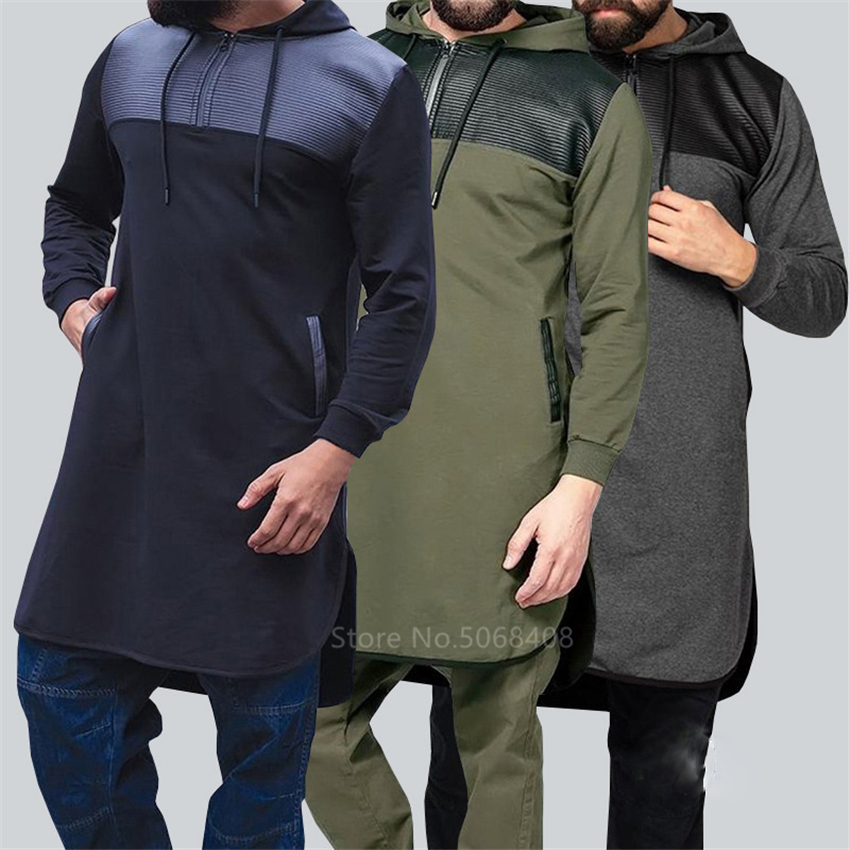 Saudi Arabia Middle East Man Muslim Hooded Thobe Jubba Casual Long Sleeve Turkish Sweatshirt Islamic Men Clothing Kaftan Robes