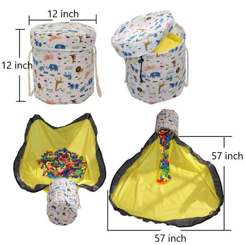 2 em 1 fita mágica brinquedo à prova dwaterproof água limpar-up saco de armazenamento blocos de brinquedo recipiente cesta grande jogo esteira de armazenamento para crianças brinquedo organizador