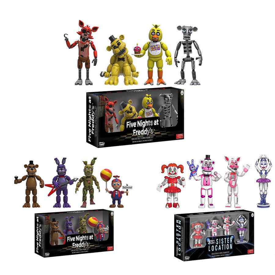 Jogo 4PCS Cinco Noites No Action Figure Set FNAF Foxy Bonnie do Freddy Freddy Fazbear Local da Irmã Bonecas Modelo FNAF Coletar Brinquedo