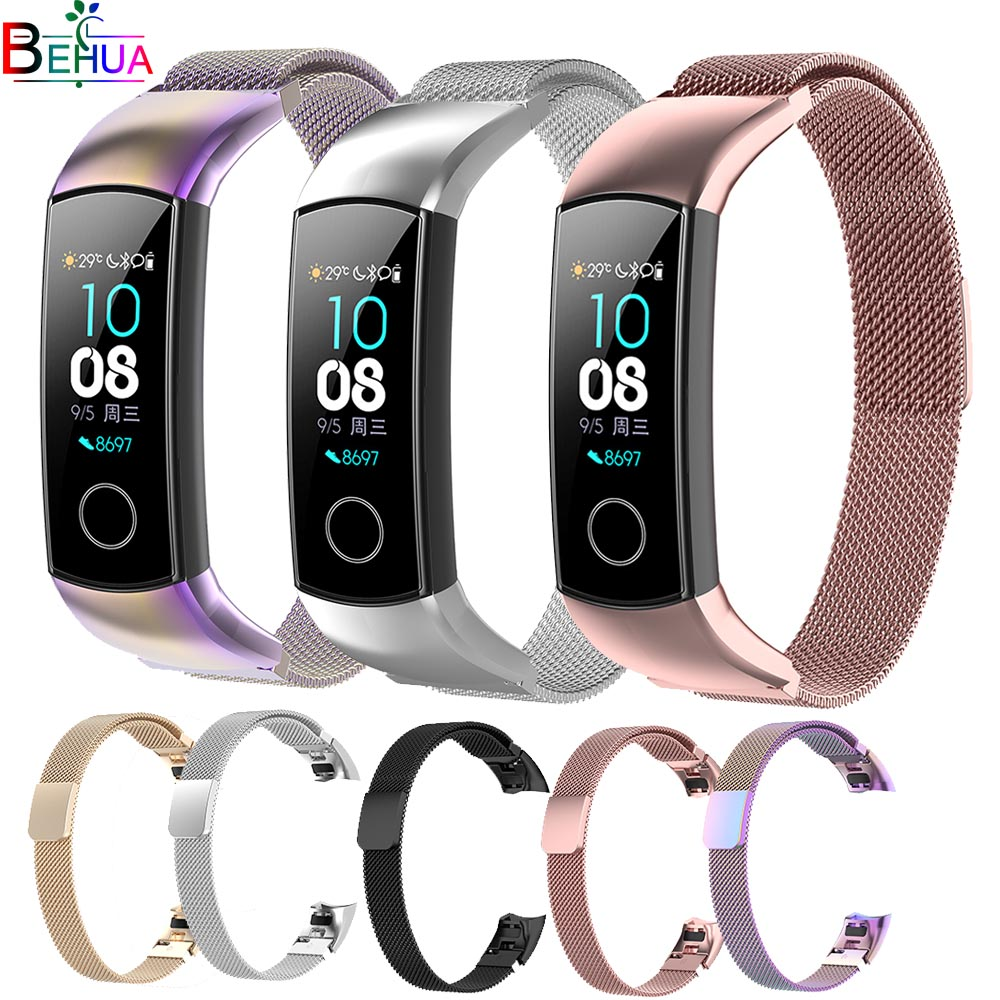 Magnetic Milanese Stainless Steel watch band For Huawei Honor Band 4 /Honor 5 smartwatch wristband Replacement Original strap(China)
