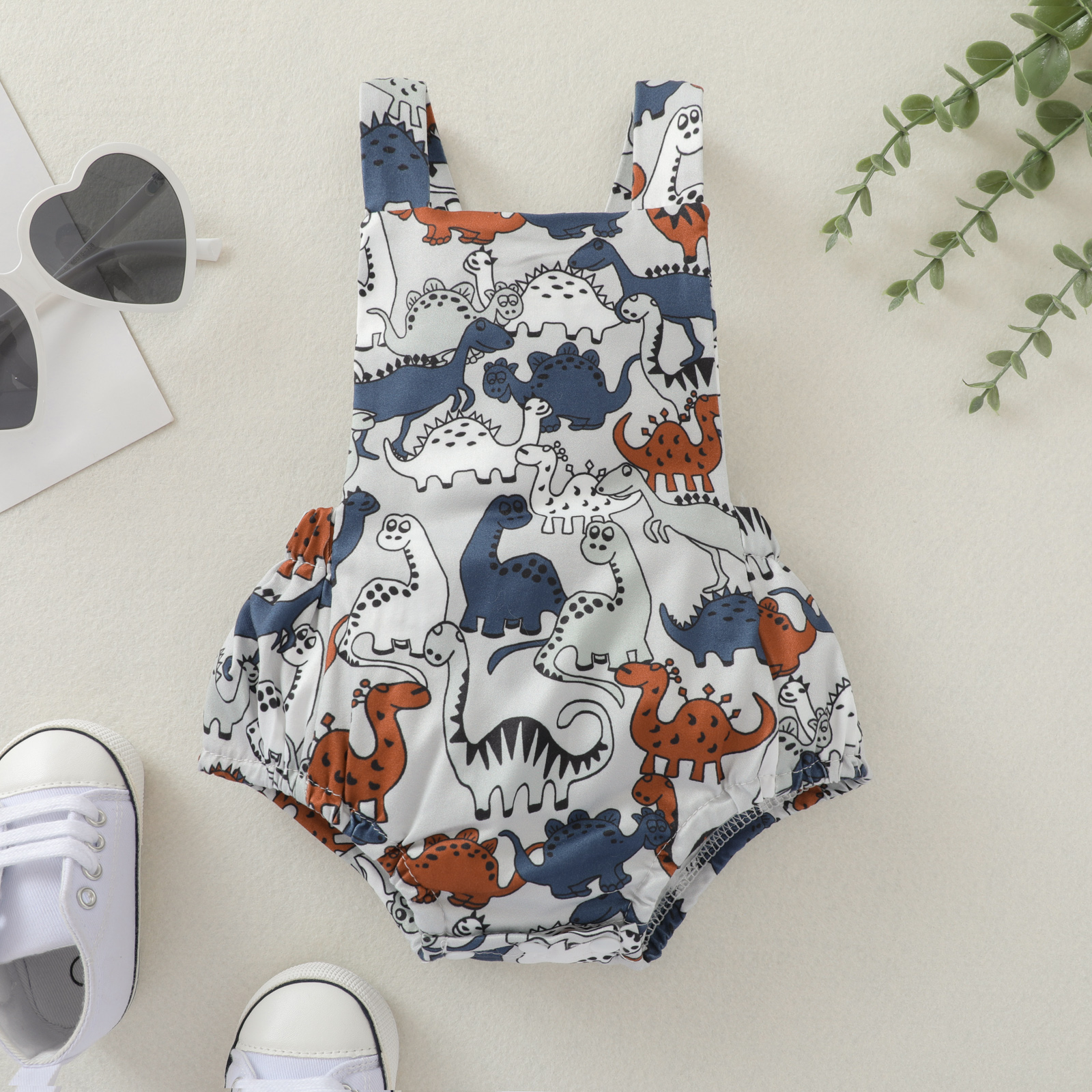 Summer Stylish Cute Babies Casual Romper Grey Dinosaur Printed Pattern Square Collar Sleeveless Sling Jumpsuit 0 24 Months    - AliExpress