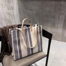 Fashion Big striped Handbags Women Canvas Bags Beach Female Casual Tote Ladies Large Messenger Shoulder Crossbody Bag 2019