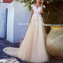 2020 Romantic Wedding Dresses with Applique 3D Flowers Robe De Mariee Scoop Neck Wedding Bridal Gowns Boho Bride Dress Long