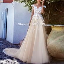2020 romantische Brautkleider mit Applique 3D Blumen Robe De Mariee Scoop Neck Hochzeit Brautkleider Boho Braut Kleid Lange