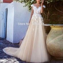 Vestidos De novia románticos con apliques 3D, bata con flores De Mariee, cuello redondo, vestido De novia bohemio, largo, 2020