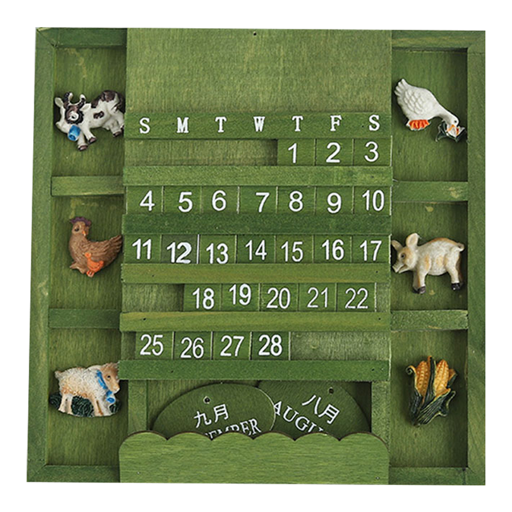 Animals Wood Calendar Craft Reusable Practical Permanent Perpetual Wall Hanging Manual Home Office Decorative Block Vintage Arts