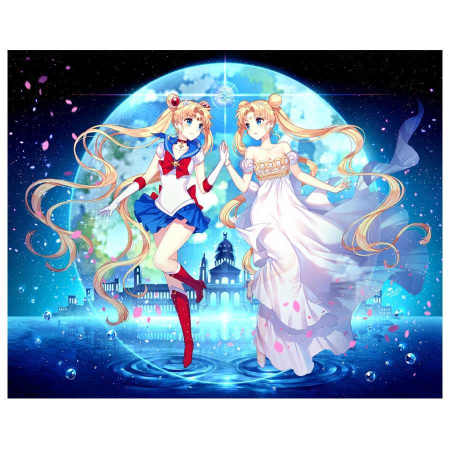 Japan Anime 5D DIY Diamond Bordir Sailor Moon Penuh Putaran Bor Diamond Lukisan Cross Stitch Rhinestone Mosaik Dekorasi