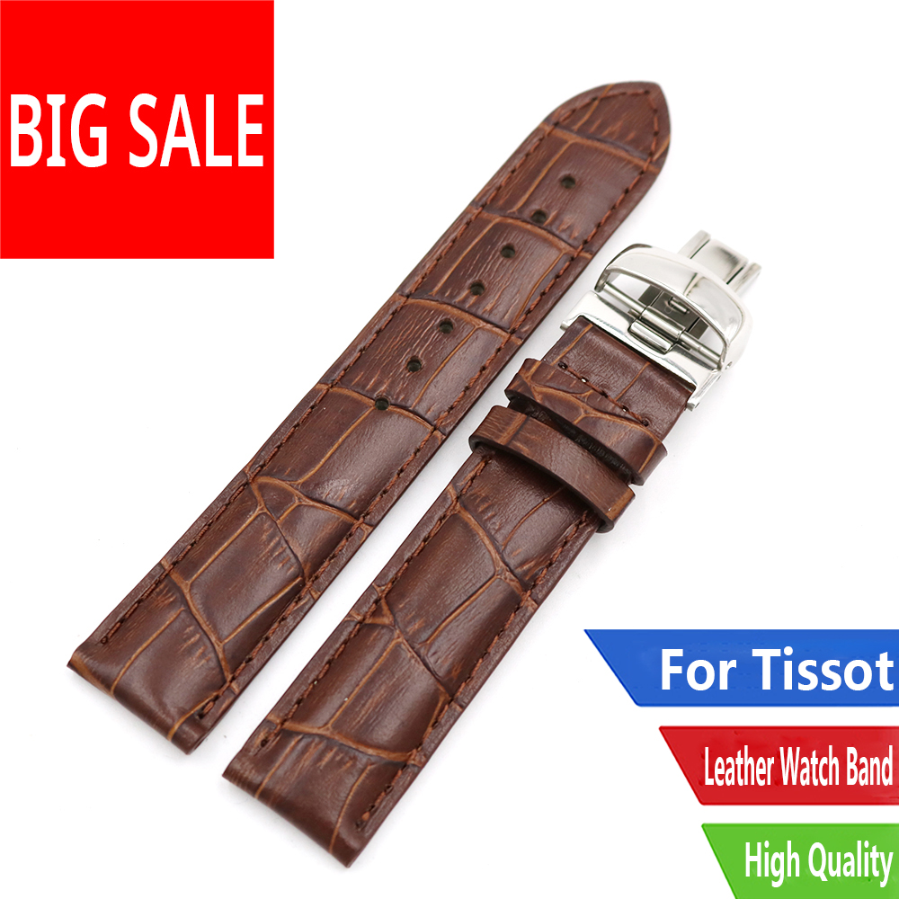 CARLYWET <font><b>19mm</b></font> Black Brown Real Calf Leather Replacement Watch Band Strap Bracelet For Tissot <font><b>PRC200</b></font> T17 T461 T014430 T014410 image
