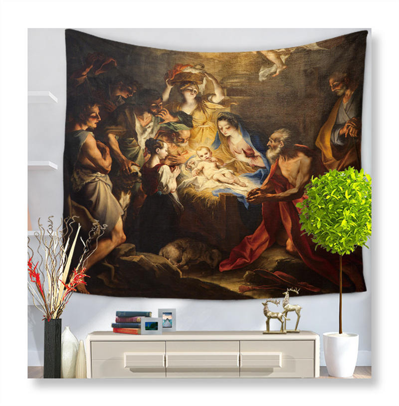 Jesus Christ Tapestry Wall Hanging Sleeping Pad Wall Tapestry Art Round Towel Beach Blanket Living Room Deco Tapesties|Decorative Tapestries| |  - title=