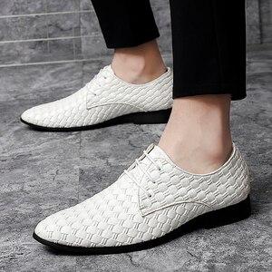Image 4 - 2020 גברים נעליים יומיומיות עור אופנה נעלי מארג עסקי שרוכים נעלי פנאי נעלי לשכת קלאסי קלה נעליים