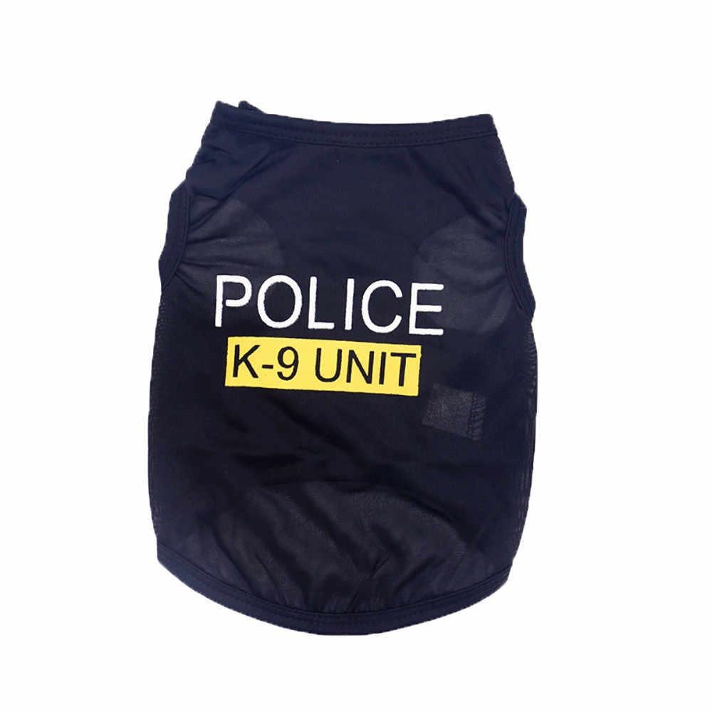 Police Suit Cosplay Pakaian Anjing Hitam Elastis Rompi Anak Anjing T-shirt Mantel Aksesoris Pakaian Kostum Pakaian Hewan Peliharaan untuk Anjing Kucing