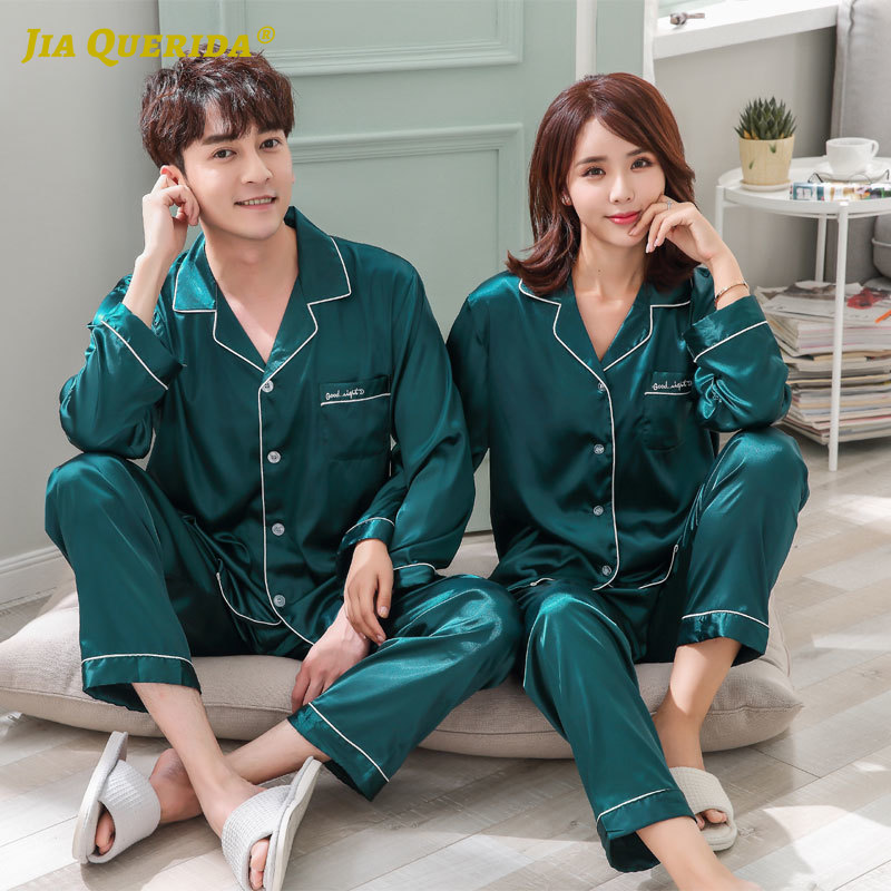 Pajamas Set Green Turn Down Collar Homesuit Homeclothes Fashion Style Casual Style Imitated Silk Satin Silk Men And Women Couple