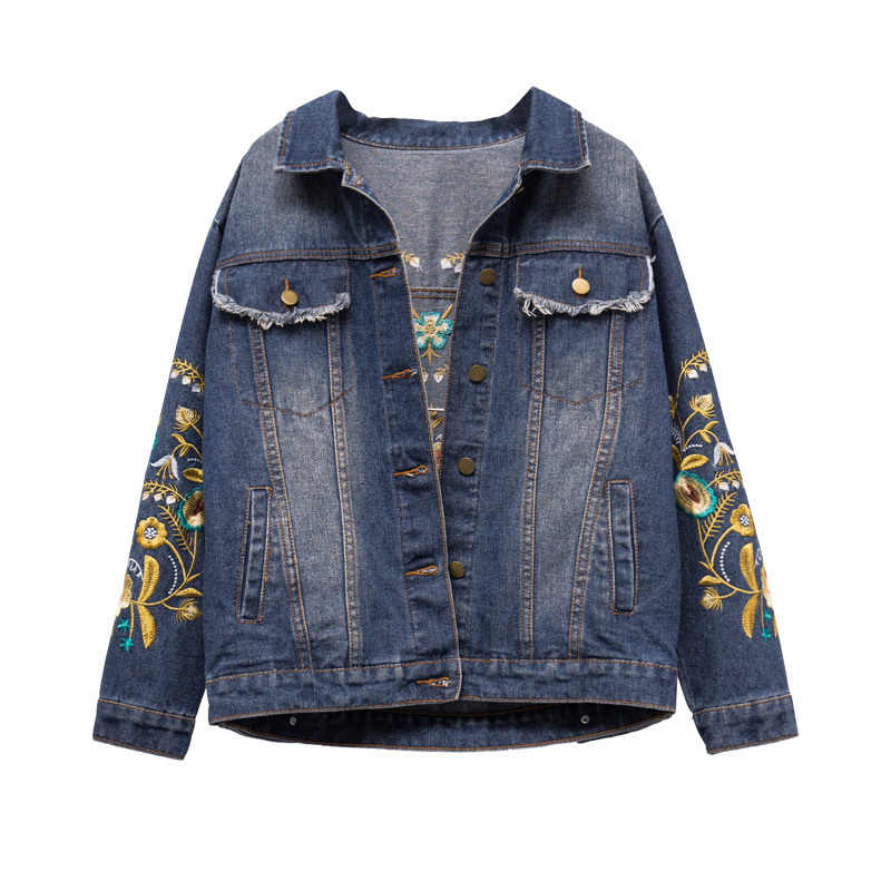 2019 Musim Gugur Wanita Jaket Jeans Bordir Emas Bunga Denim Jaket Vintage Blue Jean Jaket Mantel Plus Ukuran 5XL
