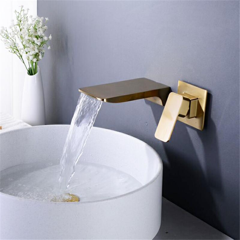 Bathroom Basin Faucets Solid Brass Brushed Gold/Chrome Sink Mixer Tap Hot & Cold Lavatory Crane Taps In-Wall Waterfall Faucets