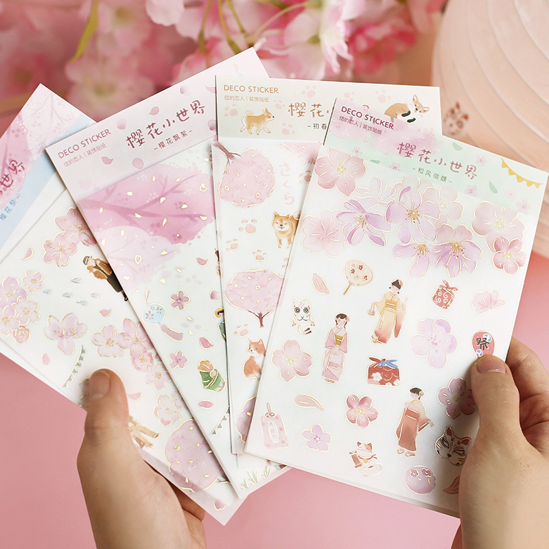 Mohamm 1 Sheet Bronzing Paper Flat Stickers Cherry Flower Cute Cartoon Animals Stationary Scrapbooking Gift Girl School Supplies