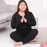 Autumn Long Sleeve Women Thermal Long Johns black Long Johns Solid Warm O-neck Thermal Underwear Plus Size 3XL 4XL 5XL 90KG Wear