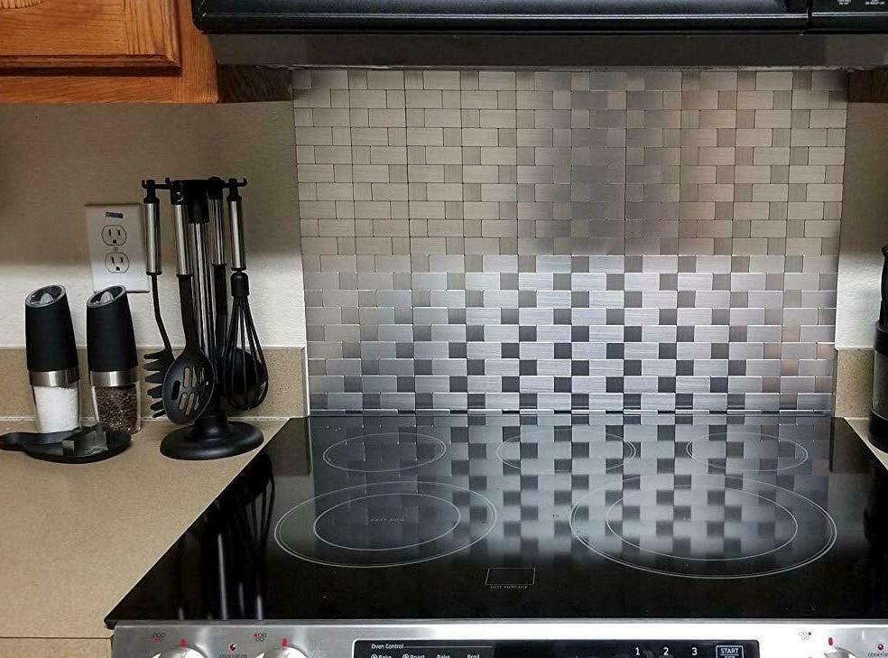 5pcs Brushed Aluminum Mosaic Metal Peel Stick Kitchen Backsplash Wall Tiles