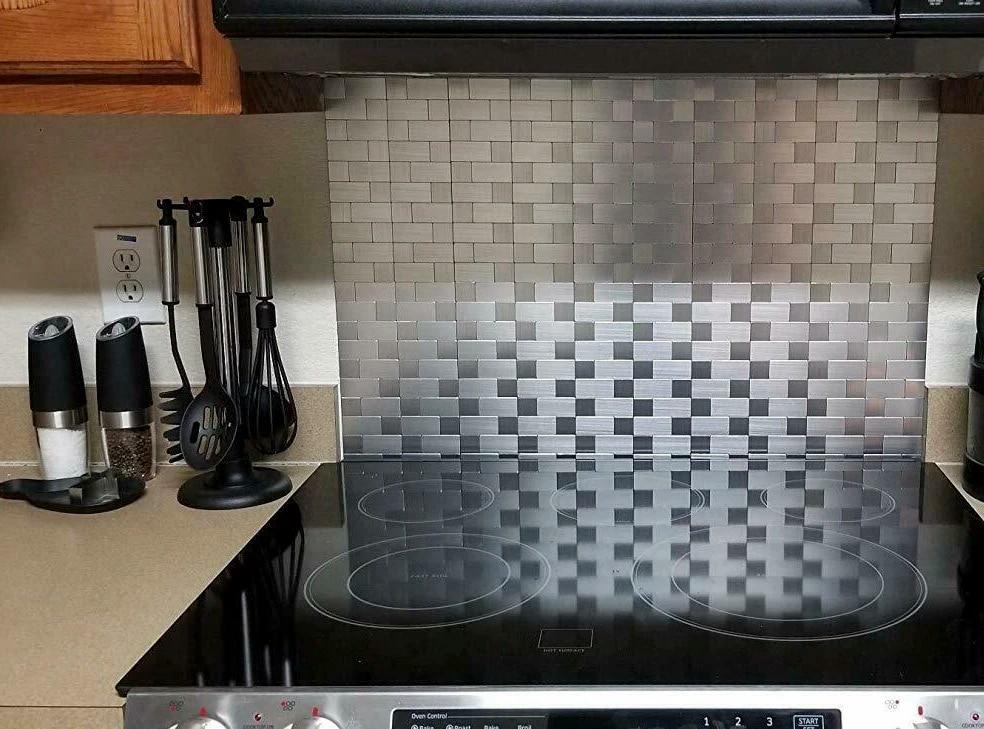 5 pcs peel and stick backsplash tiles self adhesive stainless steel kitchen silver brushed metallic mosaic wall self stick tiles