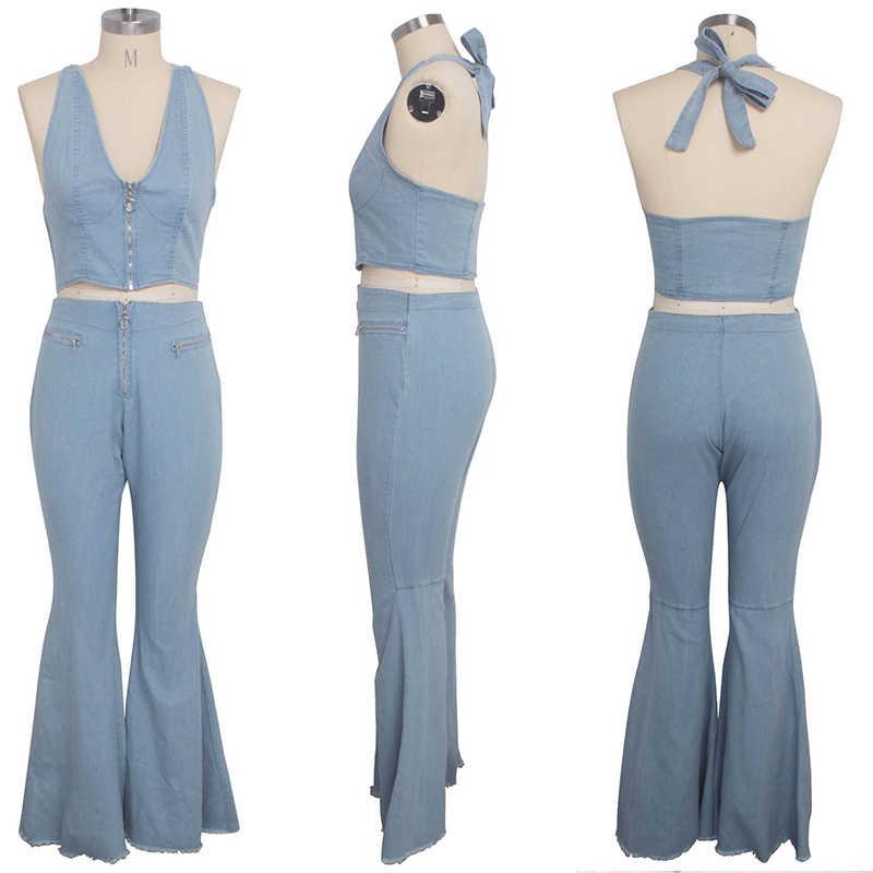 Seksowny dopasowany dwuczęściowy zestaw dżinsy garnitur kobiety Crop top z pasków szyi stroje klubowe 2 częściowy zestaw spodnie flare spodnie palazzo z szerokimi nogawkami