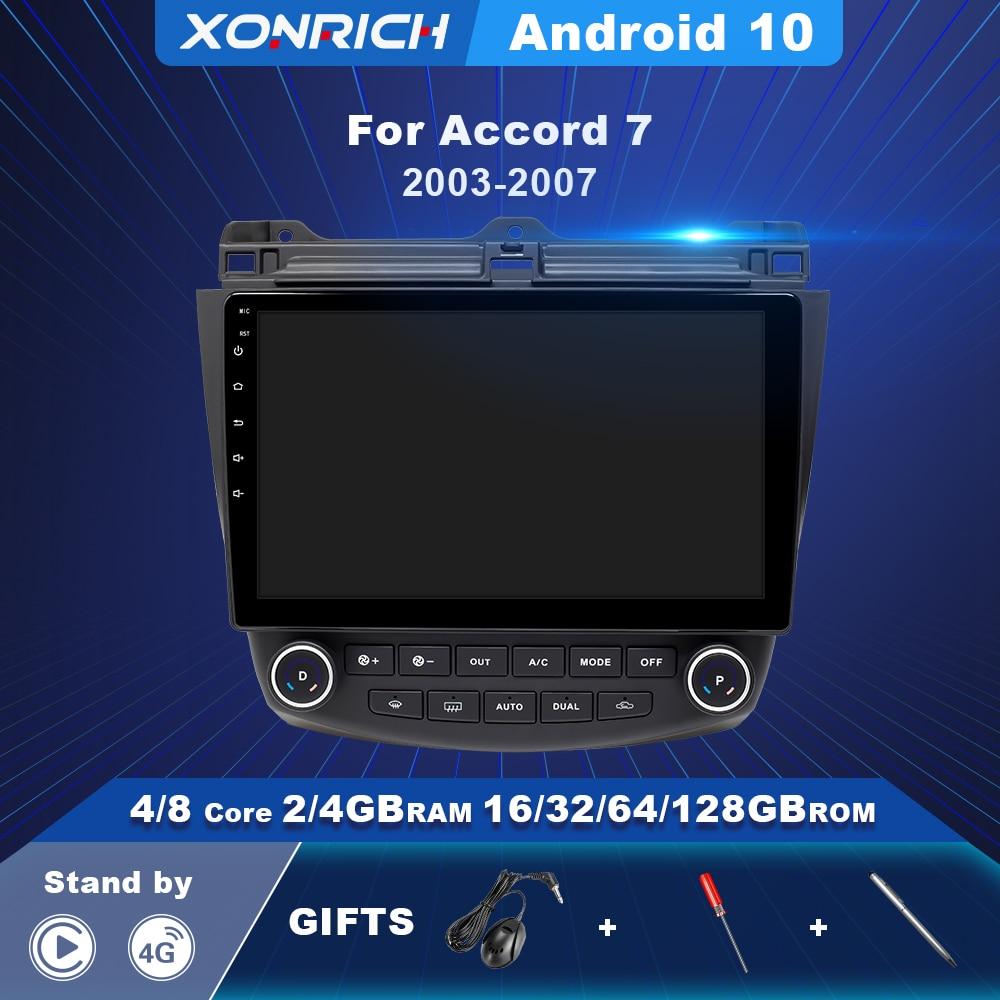 Автомагнитола 2 Din 4G + 128G Android 10,0, мультимедийный плеер для Honda Accord 7 2003-2007, навигация без Dvd, Carplay, AI, голосовое управление