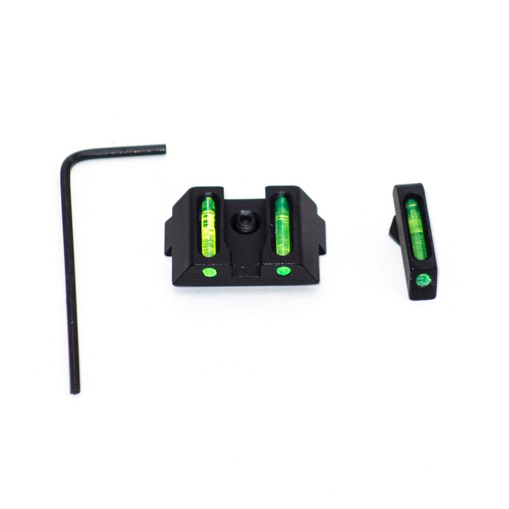 Тактический волоконно-оптический передний и задний зеленый точечный прицел для охоты ночного видения для Glock