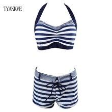 High Waist Swimwear Striped Bikini Women Swimsuit 2020 Vintage Halter Bathing Suit Shorts Biquini Maillot de bain XXL