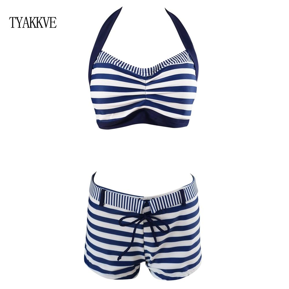 Tyakkve 높은 허리 수영복 2020 새로운 스트라이프 비키니 여성 수영복 빈티지 bathingsuit 반바지 고삐 biquini maillot 드 베인 xxl