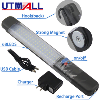 Rechargeable USB LED Flashlight Work Light Lamp 68LEDs Magnetic Torch Swivel Hook for Camping Workshop Car Repair super bright usb charging 36 5 led flashlight work light torch linternas magnetic hook mobile power bank for your phone outdoor