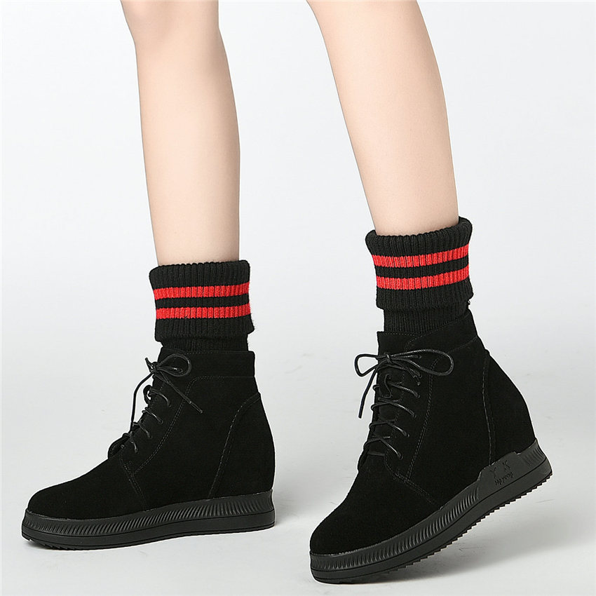 Goth Trainers Women Genuine Leather Wedges High Heel Ankle Boots High Top Winter Warm Platform Pumps Round Toe Knitting Sneakers